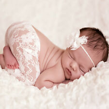 Newborn Baby Boy Girl Lace Pants Bowknot Headband Photography Photo Prop Outfits