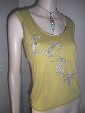French Connection FCUK Women's Distressed Army Green Sleeveless Tank Top SMALL