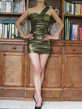 TWENTY ONE Lady or girl golden coloured one shoulder bodycon party dress - New