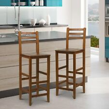 Homcom Kitchen Bar Stools Chairs W/ Footrests Acacia Wood Teak Colour Counter