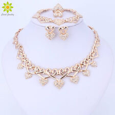 Fashion Wedding Jewelry Set Crystal Heart Gold Plated Necklace Earrings Sets