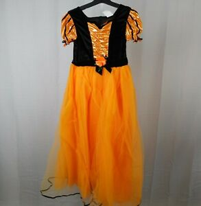 Girls Orange & Black Witch Halloween Costume Dress - 10-12 Large #6651