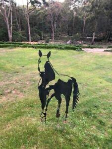 Laser Cut Garden Sculpture Horse Silhouette Corten Steel