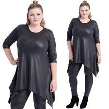 Magna Kleid Tunika - LederOptik- schlankmachend - 44 46 48 50 52 54 56 58 - C01
