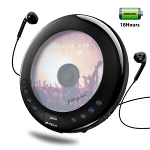 Portable CD Player For Car with FM Transmitter Anti-skip LED Display USB Battery