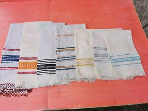 OLD ANTIQUES PRIMITIVE HAND WOOVEN HOMESPUN TOWELS COTTON - LOT OT 7