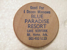 "VINTAGE ""BLUE PARADISE RESORT"" Lake Norfork, Mt. Home, Ark. WOODEN NICKEL"