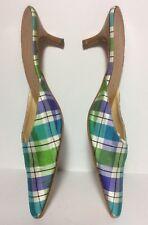 Stubbs & Wooton Pointy Toe Plaid Fabric Kitten Heel Mule EUC Sz 9 Italian Made