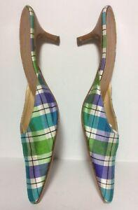 Stubbs & Wooton Pointy Toe Plaid Fabric Kitten Heel Mule EUC Sz 9 Italian Run Sm