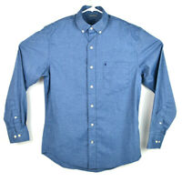 Izod Saltwater Relaxed Classics Mens Size S Blue Button Down Long Sleeve Shirt