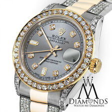 Ladies 26mm Rolex Oyster Perpetual Datejust Custom Diamonds Slate Grey Dial
