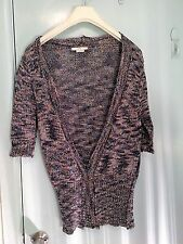 Satch short sleeve cardigan in blue and brown and white in size 10-12