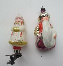 Lot of 2 Christmas Tree Glass Decoration Toys Girl and East Magician USSR 1970y