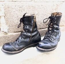 Vintage 1965 Vietnam Combat Military Army  Black Leather Zip 8 Boots 60s 1960s