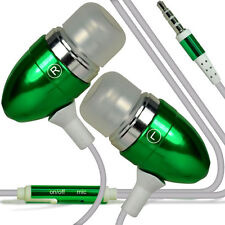 Twin Pack - Green Handsfree Earphones With Mic For Motorola Moto G 2nd Gen