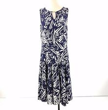 Haani Dress Size 2X Navy Blue White Fit Flare Sleeveless Knit Stretch Midi