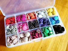 Botones Redondo Lunares cubierto de tela Colores Mezclados 15 mm Caja de Regalo x225