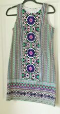 London Times Sateen Cotton Shift Dress multicolor sz 6 sleeveless