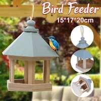 Wooden House Bird Feeder Hanging Feeding Hollow Outdoor Bird Feeder Container