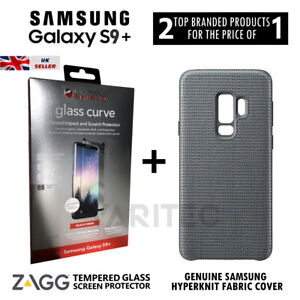 Zagg S9 Plus Glass Screen Protector + Fabric Cover Case for Samsung Galaxy S9+