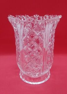 "Fifth Avenue Crystal Heavy Clear Glass Hurricane 6"" Tea Light Candle holder"