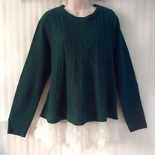 Fall Winter Hunter Green Crochet Hem Cable Knit Sweater Pullover size14/12/M NEW