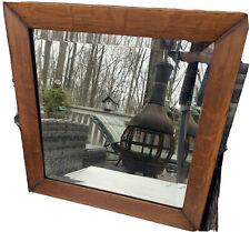 "Antique UNUSUAL Solid Oak Beveled Mirror BEST! 19'5""x19'5"""
