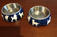 2 Melamine Hard Plastic Pet Dog Bowl Dishes Blue Small Size