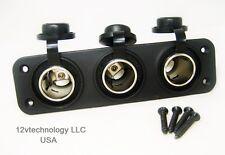 Triple Heavy Duty 20 A 12 V Plug High Power Lighter Socket Plug Outlet Panel RV