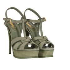 YSL - Tribute Sandal 140mm Kid Scamosciato 3219 Vert SIZE 37