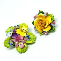 Bone China Flower Brooches. Pair. Thornley China And Dorothy Ann. 1950s.