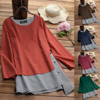 ZANZEA 8-24 Women Asymmetric Tunic Top Tee T Shirt Loose Ladies Plus Size Blouse