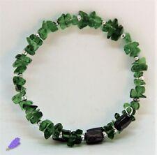 Bracciale Donna Uomo Pietre Dure: Olivina Verde Magnetite in acciaio armonico