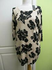 BNWT M&CO SIZE 14 WOMENS FINE KNIT JUMPER DRESS FAWN & BLACK FLORAL WAS £29