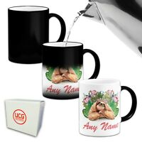 Personalised (Any Name) Floral Sloth Novelty Gift Heat Colour Changing Mug