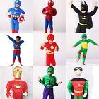 Kids Boys Captain America Super Hero Spiderman Batman Hulk Ninja Costume Outfit