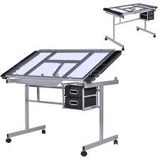 Table à dessin inclinable Table bureau d'architecte Table en verre à roulettes