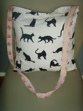 HANDMADE IN LUCKY BLACK  CAT PRINT FABRIC 14in Tote Shoulder bag BLACK WHITE