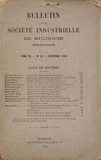 BULLETIN DE LA SOCIETE INDUSTRIELLE DE MULHOUSE - TOME XC N° 10 DECEMBRE 1924