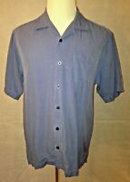 Tommy Bahama Men's Blue 100% Silk Short Sleeve Shirt Size Medium