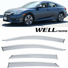 For 2016-UP Honda Civic Sedan 4Door WellVisors Side Window Visors W/ Chrome Trim