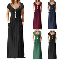 Women Casual Short Sleeve V Neck Long Maxi Dress Party Clubwear Beach Sundress