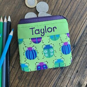 Personalised Bug coin purse Insect kids zip wallet for boy or girl Handmade gift