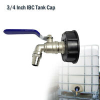 """IBC Tank adapter S60X6 to 3/4"""" lever brass garden tap & 3/4"""" hose connector New"""