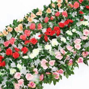 8ft Artificial Silk Rose Leaf Garland Vine Ivy Flower String Wedding Home Decor