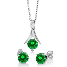 """2.40 Ct Round Simulated Sapphire 925 Silver Pendant and Earrings Set 18"""" Chain"""