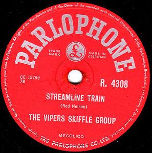 THE VIPERS SKIFFLE 78 STREAMLINE TRAIN / RAILROAD STEAMBOAT PARLOPHONE R4308 E-