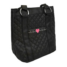 Deluxe Plush Quilted Heart EKG Nurse Medical Tote Bag