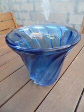 vintage vase old tulipier spirale bleu art deco val st saint lambert cristal