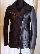 JIL SANDER WOMEN'S THICK BLACK LEATHER JACKET COAT SZ 34 US 4 MADE IN ITALY